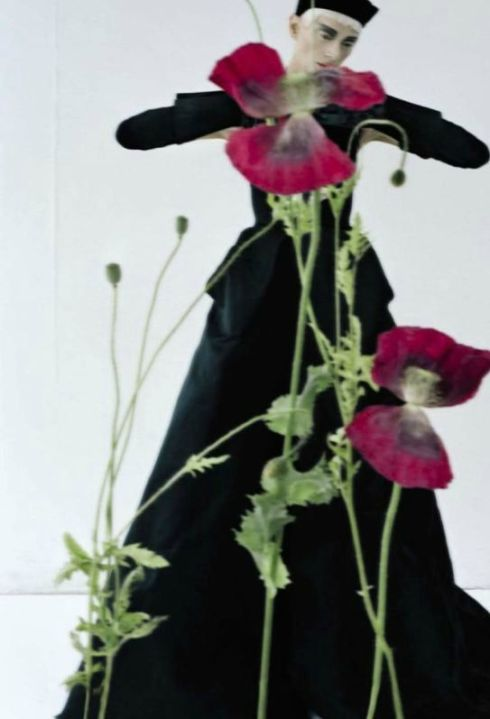 """Black and Roses"" Kristen McMenamy by Tim Walker for Vogue Italia October 2012."