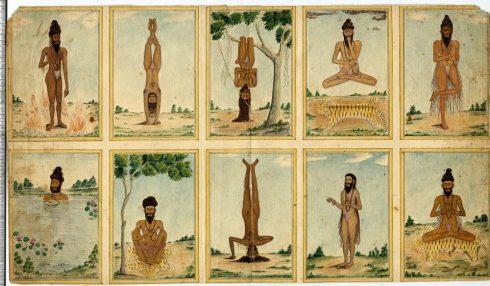 Ilustração antiga. Posturas de Yoga